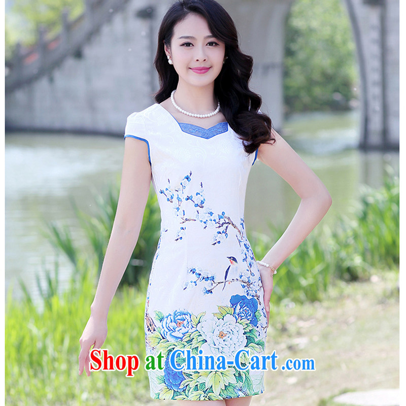 2015 summer new Korean Lady style floral short-sleeve package and graphics thin cheongsam dress 8896 - 1 light blue Peony S