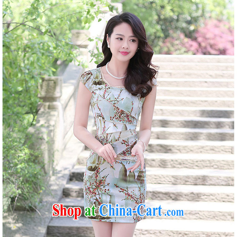 Summer 2015 new embroidery cheongsam dress girls improved daily packages and short-sleeved-waist stamp dresses 1506 landscape M