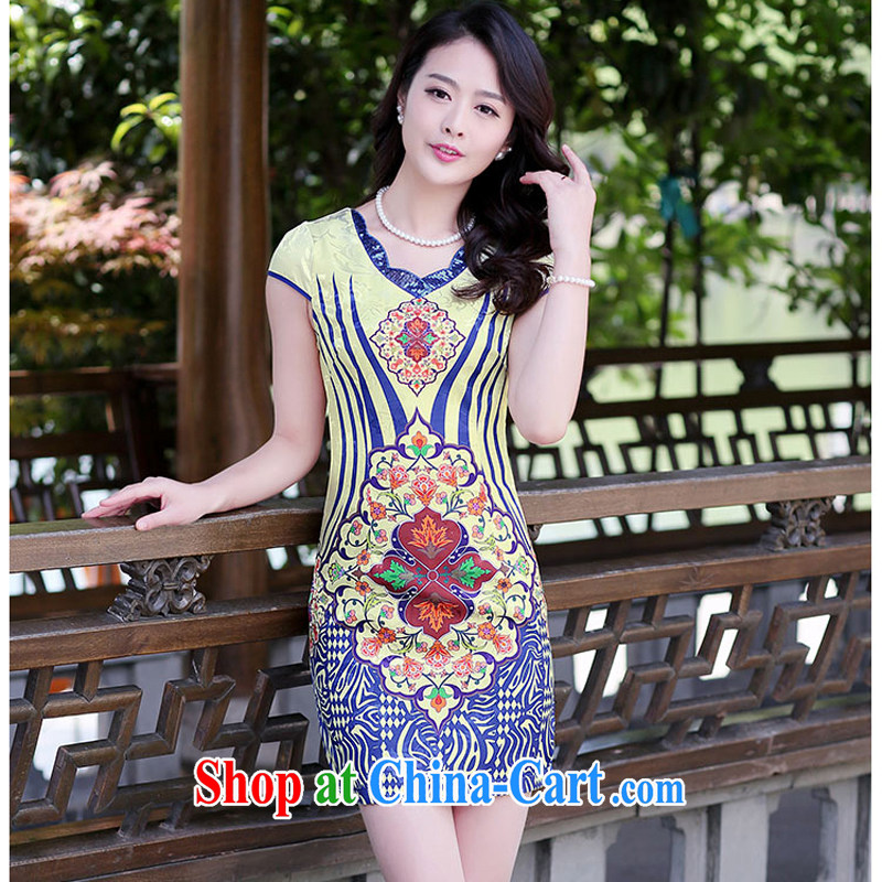 cheongsam dress 2015 new improved daily video thin short dresses sleeveless dresses girls summer 1510 blue ripple XXL