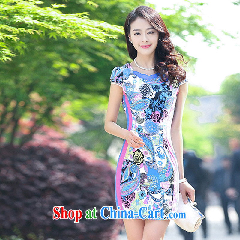 2015 new stretch cotton Ma dresses retro beauty everyday dresses skirts summer fashion to dress 5929 blue flower XL