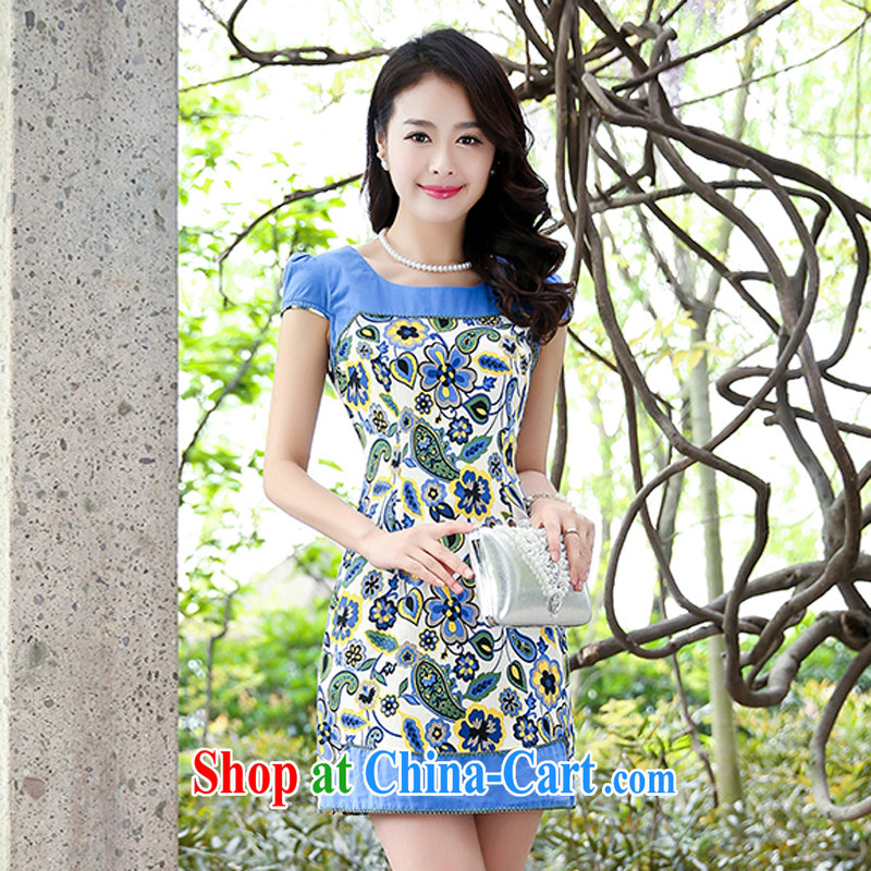 2015 new stretch cotton Ma dresses retro beauty everyday dresses skirts summer fashion to dress 5935 blue flower M