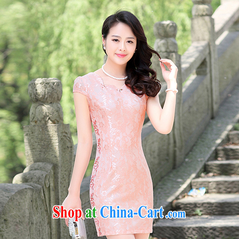 Summer 2015 new cheongsam dress short, Retro large, stylish and improved daily cheongsam embroidered dresses summer 1512 pink XL