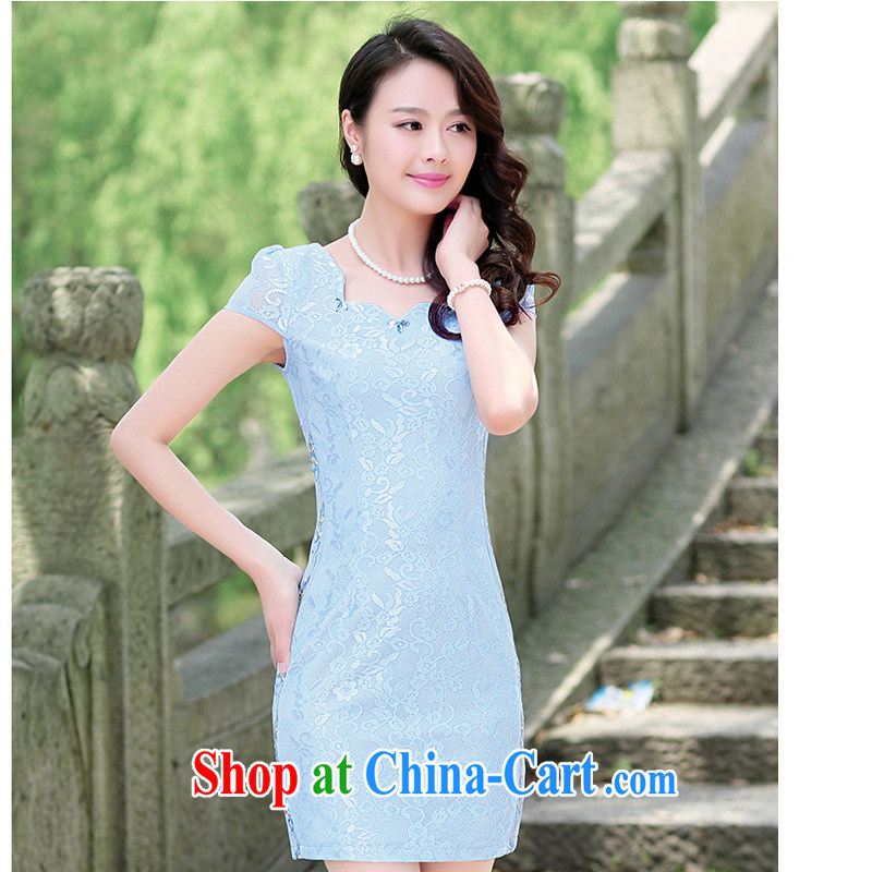 Summer 2015 new cheongsam dress short, Retro large, stylish and improved daily cheongsam embroidered dresses summer 1512 blue XL