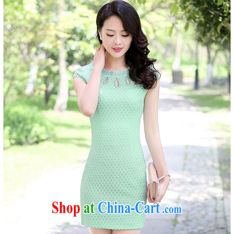 2015 summer short wave, cheongsam mom with cheongsam dress stylish girls improved Daily Beauty graphics thin aura 1509 Green Green XL