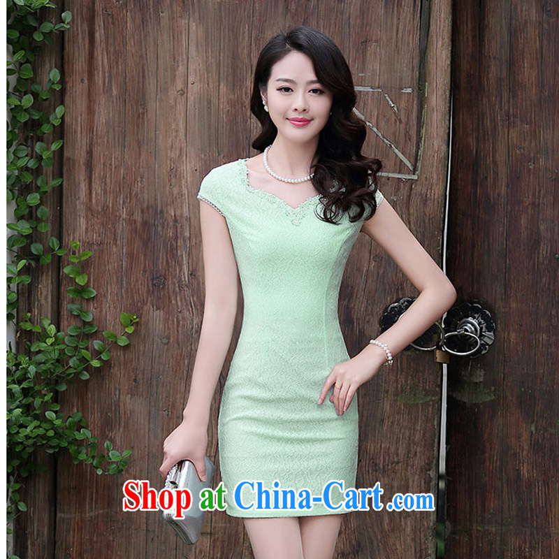 Summer 2015 female new cheongsam dress fashion dress short-sleeved style ladies, Beauty 1501 Green Green XXL