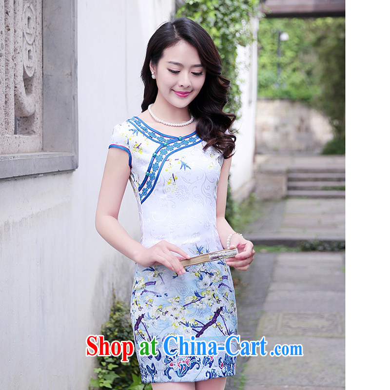 2015 new dresses and retro dresses short stylish improved dress female burglary summer Beauty Day 1515 blue plum XL