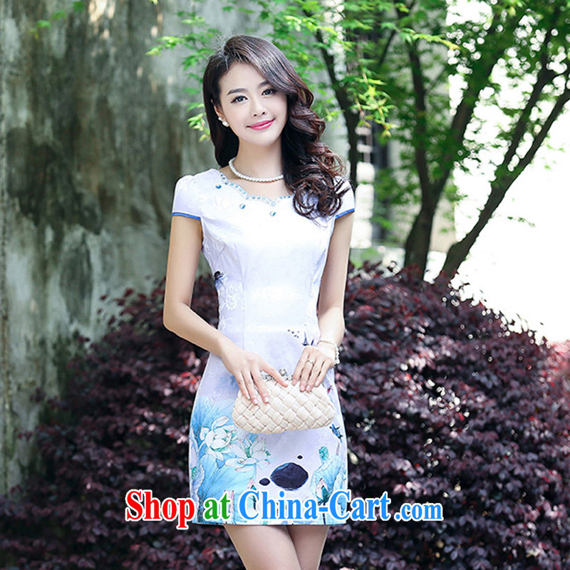 2015 new summer cotton MA the cheongsam retro pink floral stamp improved cheongsam dress 5930 light purple XL