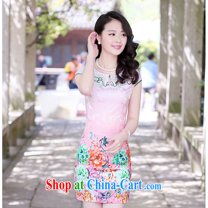 2015 new summer embroidery embroidery cheongsam stylish package beauty skirt daily improved cheongsam dress Ethnic Wind 1508 toner the Peony XXL