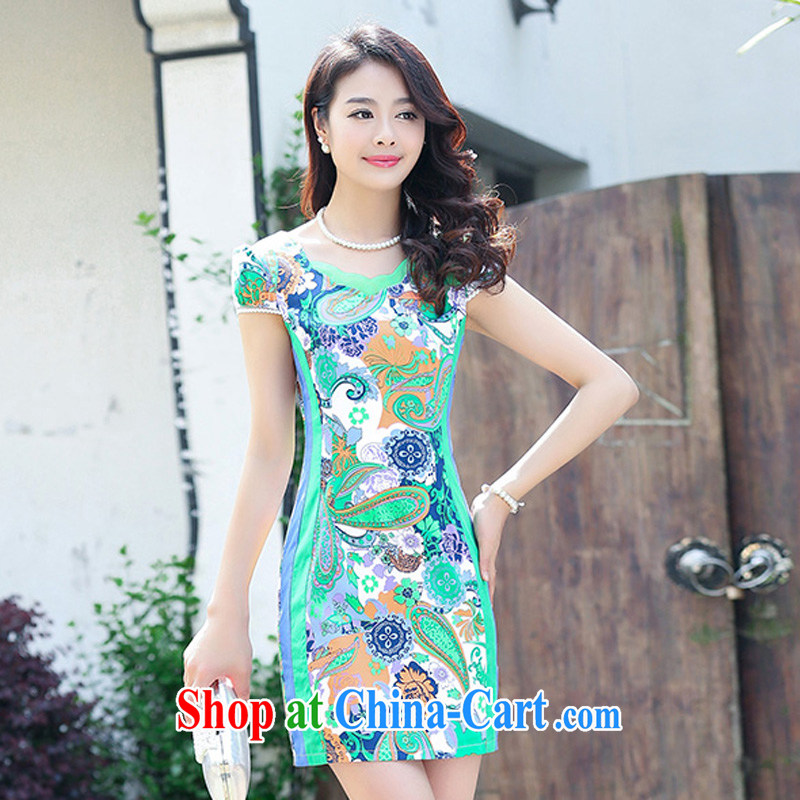 2015 new stretch cotton Ma dresses retro beauty everyday dresses skirts summer fashion to dress 5929 green XXL