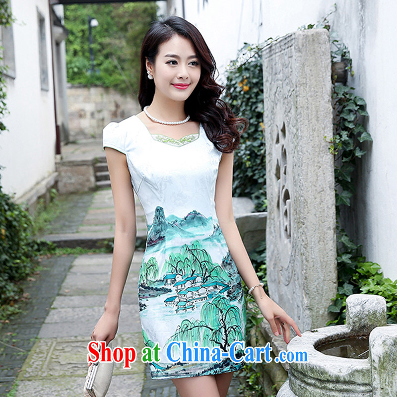 Improved cheongsam dress short 2015 new summer day ceremony clothing beauty retro jacquard skirts women 5933 green willows M