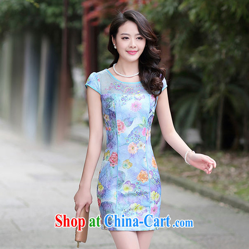 Summer 2015 female new cheongsam dress fashion dress short-sleeved style ladies, cultivating 502 blue rose M