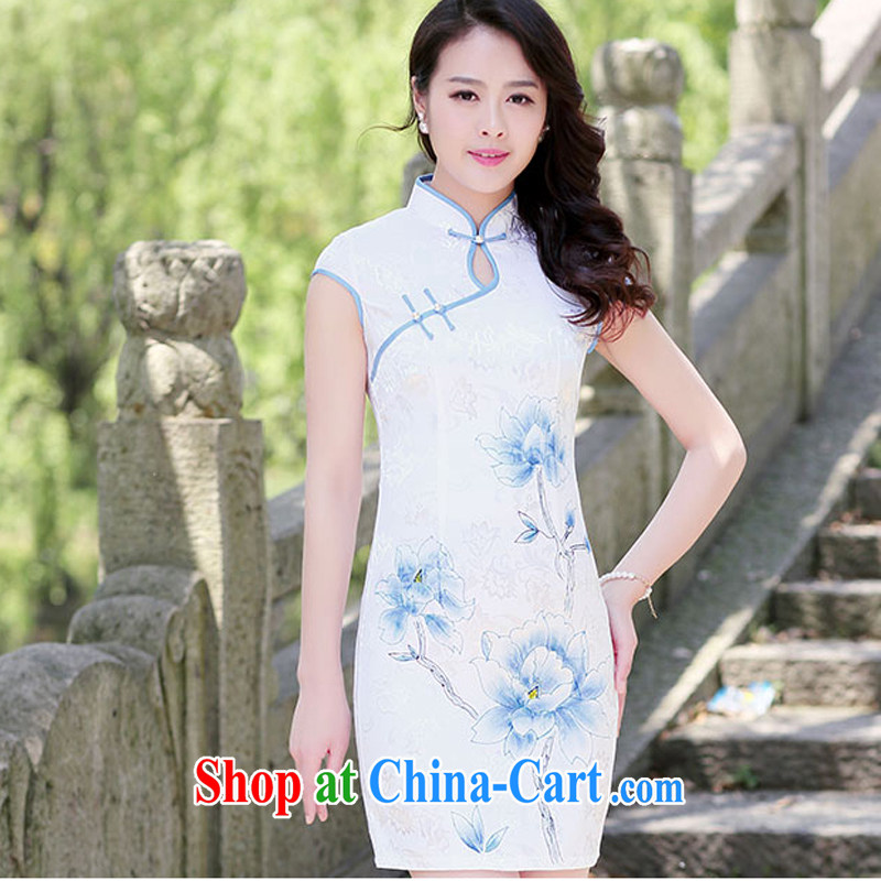 Dresses 2015 new spring and summer with white Peony jacquard cotton retro daily improved cheongsam dress style women 1517 blue lotus L