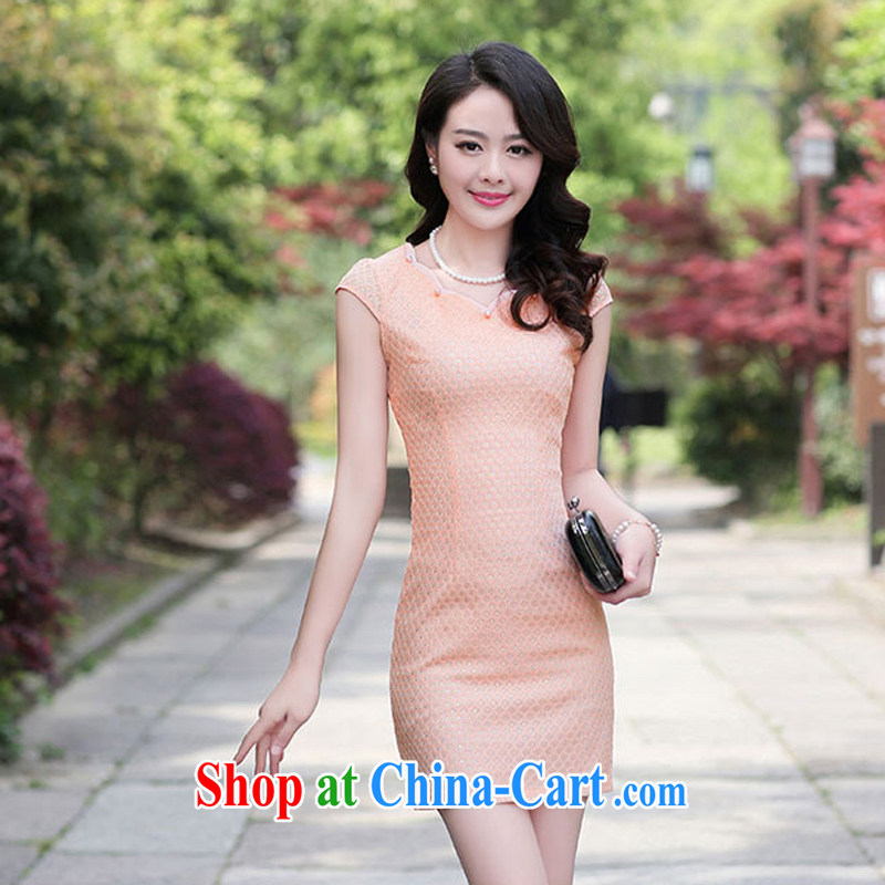 Summer 2015 women's clothing new 1503 cheongsam dress fashion dress short-sleeved style lady beauty, pink XXXL