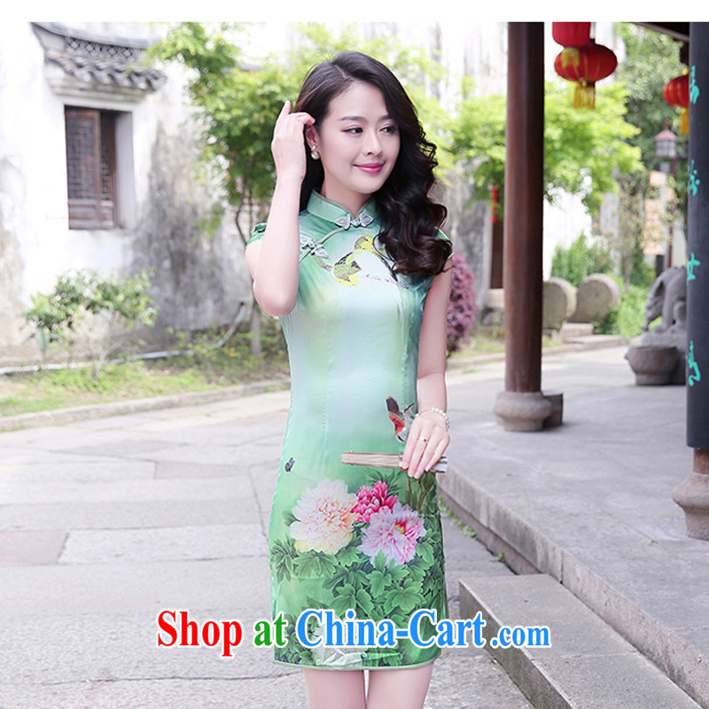 2015 new dresses spring and summer short, short-sleeved retro dresses improved cultivation daily dress stylish 1522 peony flowers S