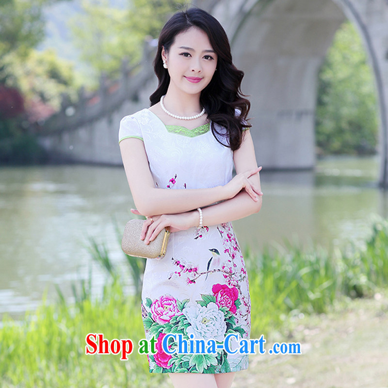 2015 summer new Korean Lady style floral short sleeve package and graphics thin cheongsam dress 8896 - 1 red Peony M