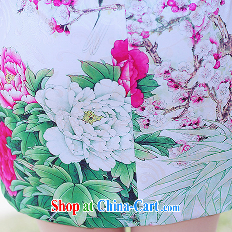 2015 summer new Korean Lady style floral short-sleeve package and graphics thin cheongsam dress 8896 - 1 red Peony M, Xin Ms Audrey EU era, shopping on the Internet