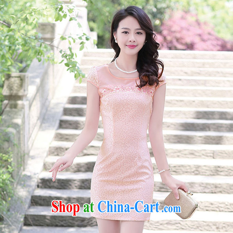 2015 new short beauty sexy style female lace cheongsam dress retro improved daily fashion Spring Summer 1513 pink XXL