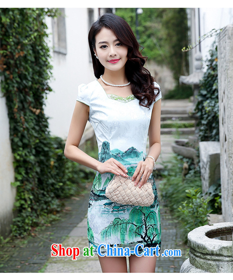 Improved cheongsam dress short 2015 new summer day, clothing and stylish beauty retro jacquard skirts women 5933 green willows M pictures, price, brand platters! Elections are good character, the national distribution, so why buy now enjoy more preferential! Health