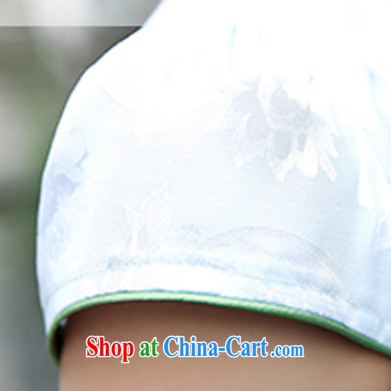 Improved cheongsam dress short 2015 new summer day, clothing and stylish beauty retro jacquard skirts women 5933 green willows M, Xin Wei era, shopping on the Internet