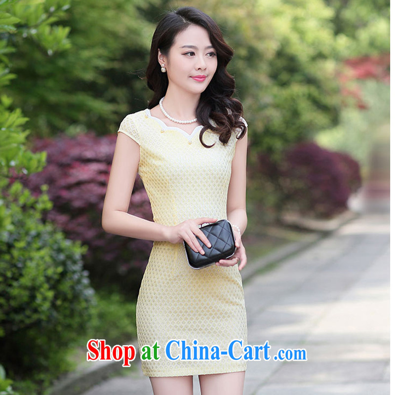 Summer 2015 women's clothing new 1503 cheongsam dress fashion dress short-sleeved style ladies, Beauty apricot XXL