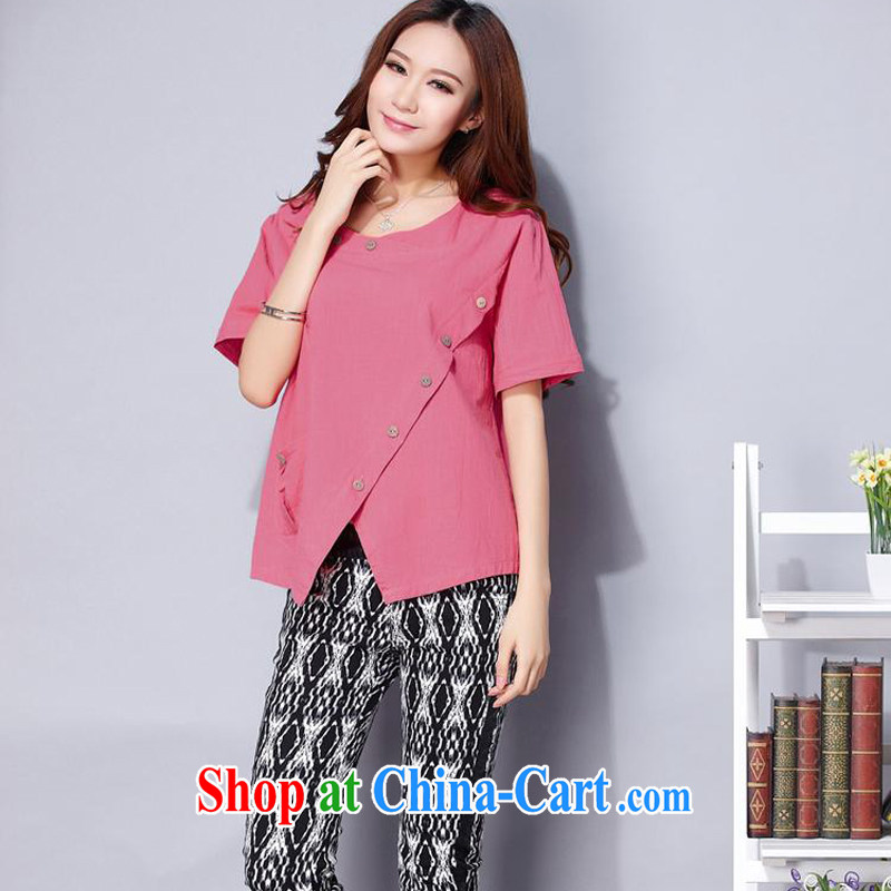 Hsiu-li-fen 2015 new units the commission female Ethnic Wind loose the Commission the female larger shirt T-shirt G - 627 - 06,122 wine red L