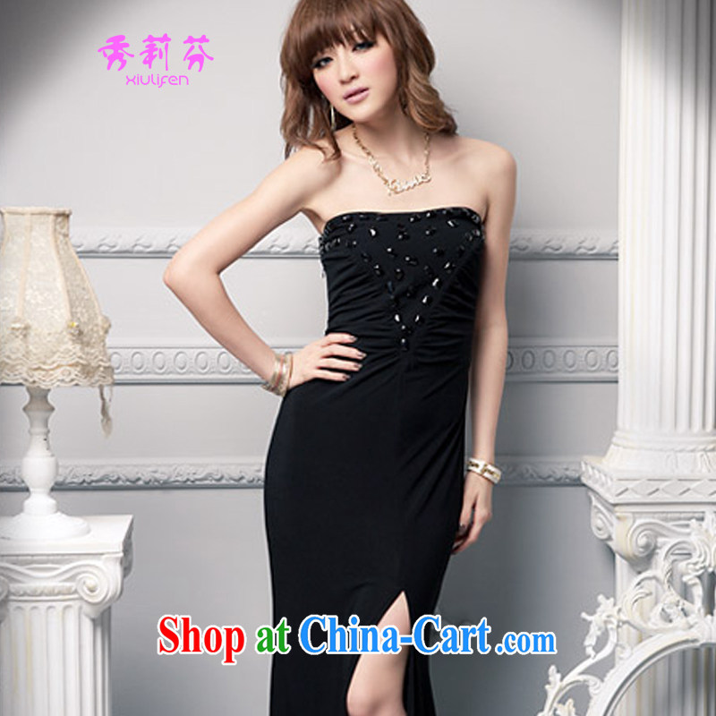 2015 new female Korean Beauty wrapped chest dress wedding banquet dress JM C - 020 - A, 659 black are code