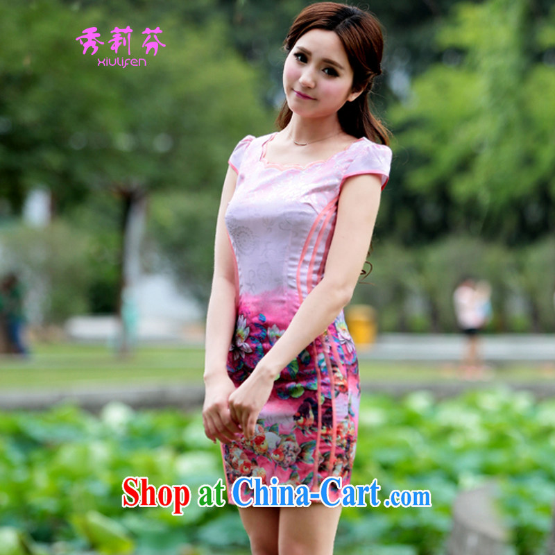 2015 new summer beauty antique dresses short dresses F - B 2012 - 2_ P 78 pink S