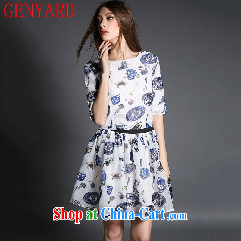 Qin Qing store female 2015 summer female Two-piece new in Europe and America, the stamp duty in the cuff root yarn shaggy skirts female E 194 white XL