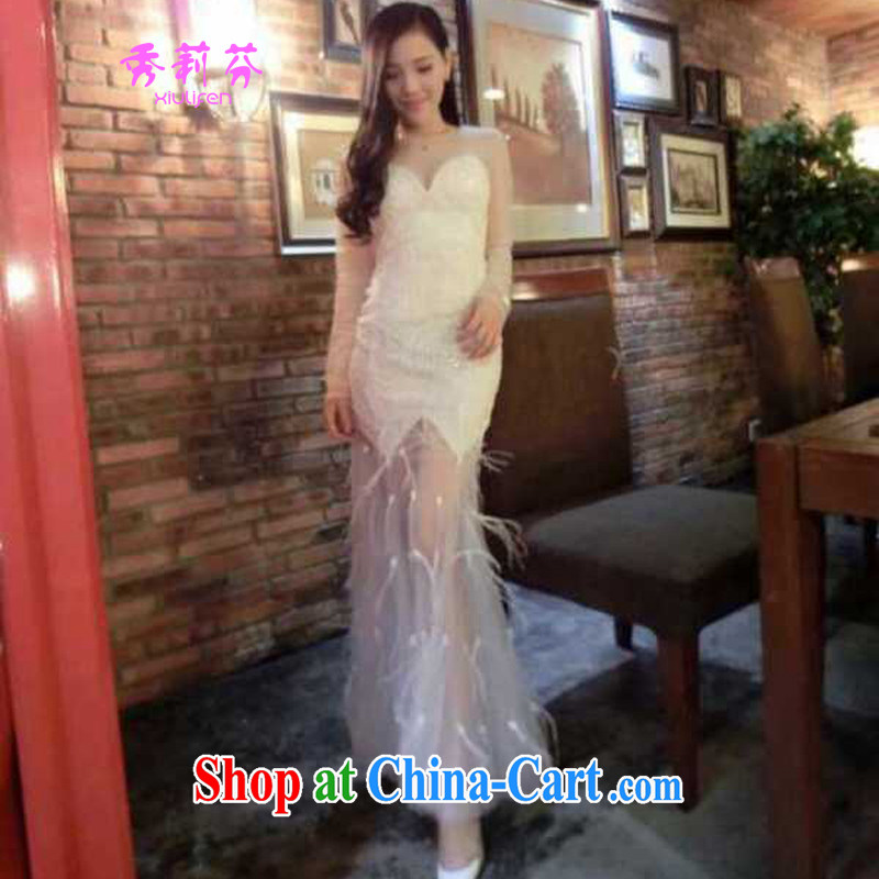 2015 new staples Mary Magdalene Pearl chest stitching feather Web yarn beauty dress long skirt B - 522-1, 8706 white M