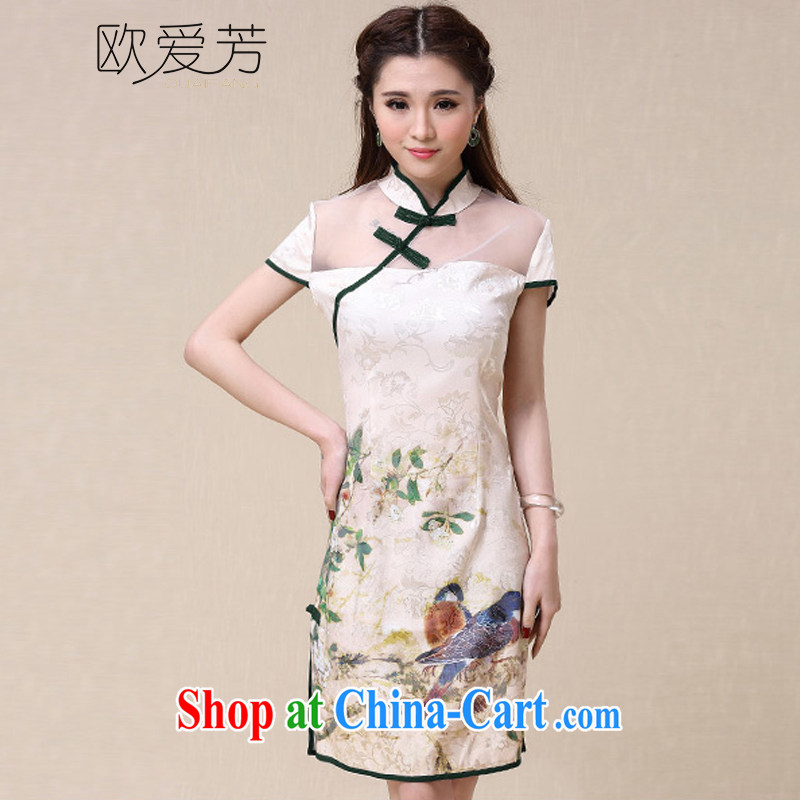 The Oi-fong 2015 spring and summer New China wind National wind cultivating high-end elegant dresses cheongsam dress XL