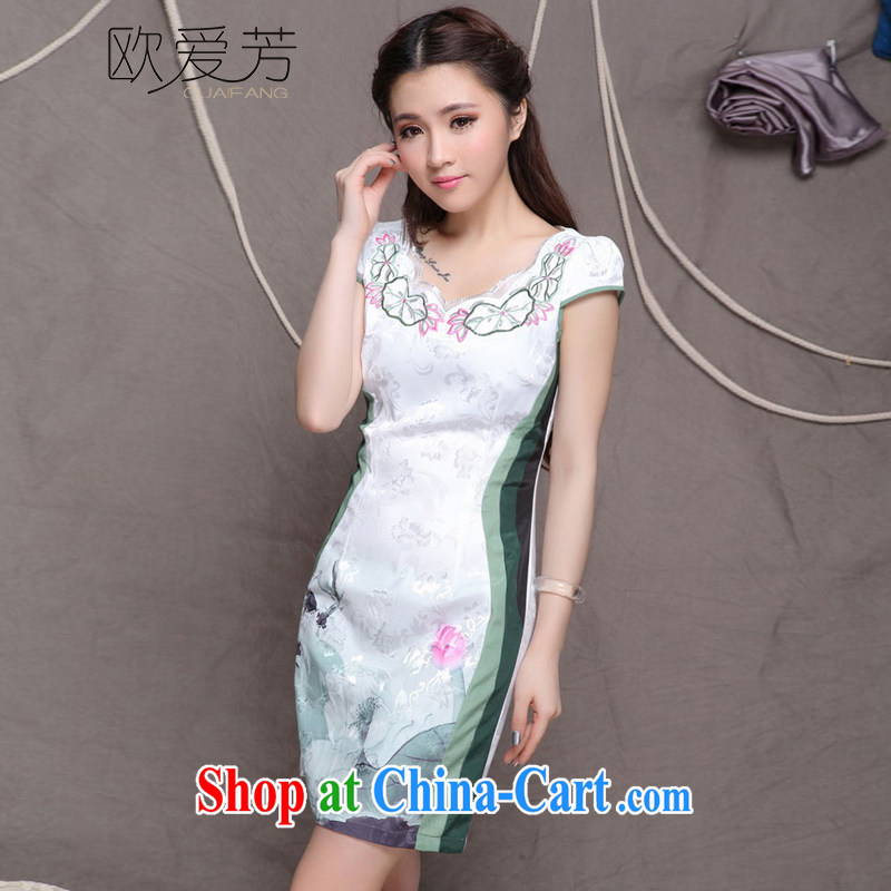 The Oi-fong 2014 summer day, high-end Ethnic Wind stylish Chinese qipao dress retro beauty graphics thin cheongsam XXL