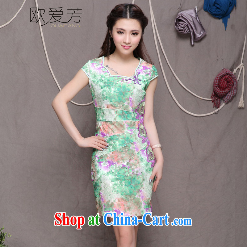 The Oi-fong 2015 New China wind stylish Ethnic Wind and refined improved cheongsam dress elegance green XL