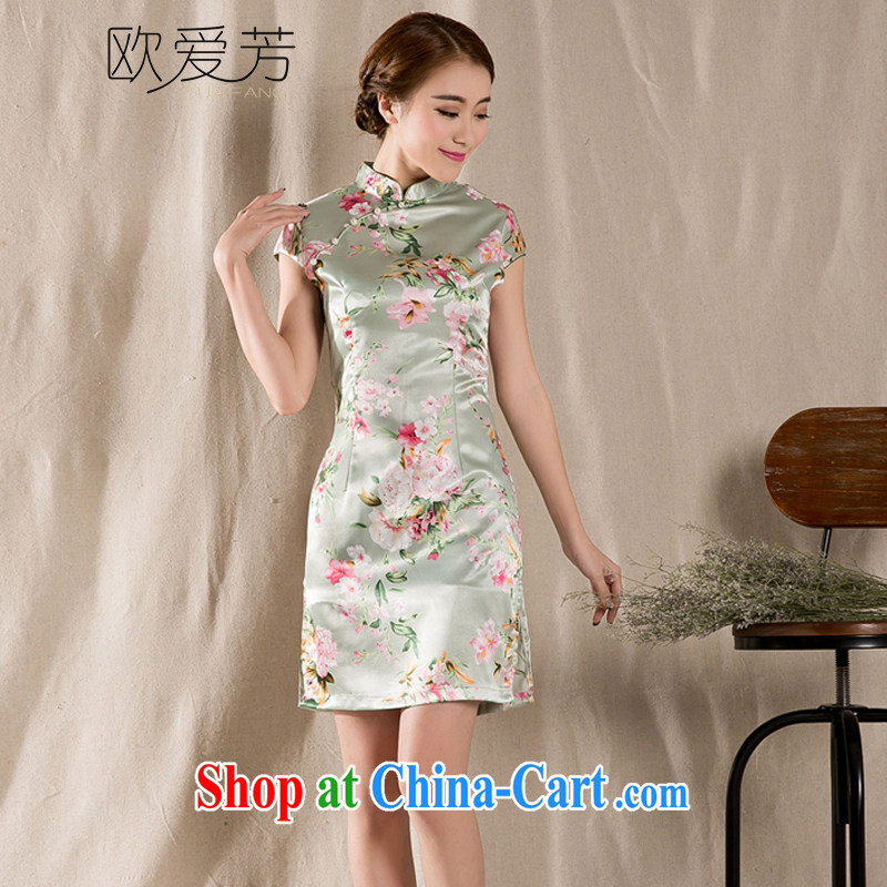 The Love, summer 2015 new tray snap stamp arts and cultural Ethnic Wind improved antique cheongsam dress China wind XL