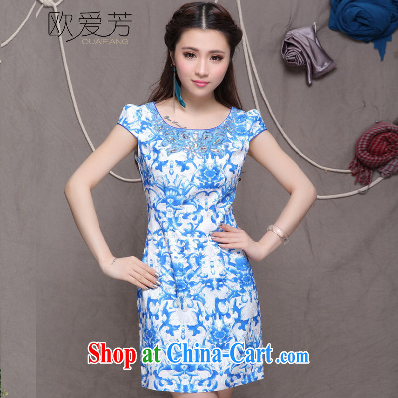 The Oi-fong Chinese wind graphics thin dresses high-end ethnic wind and stylish Chinese qipao dress summer XXL