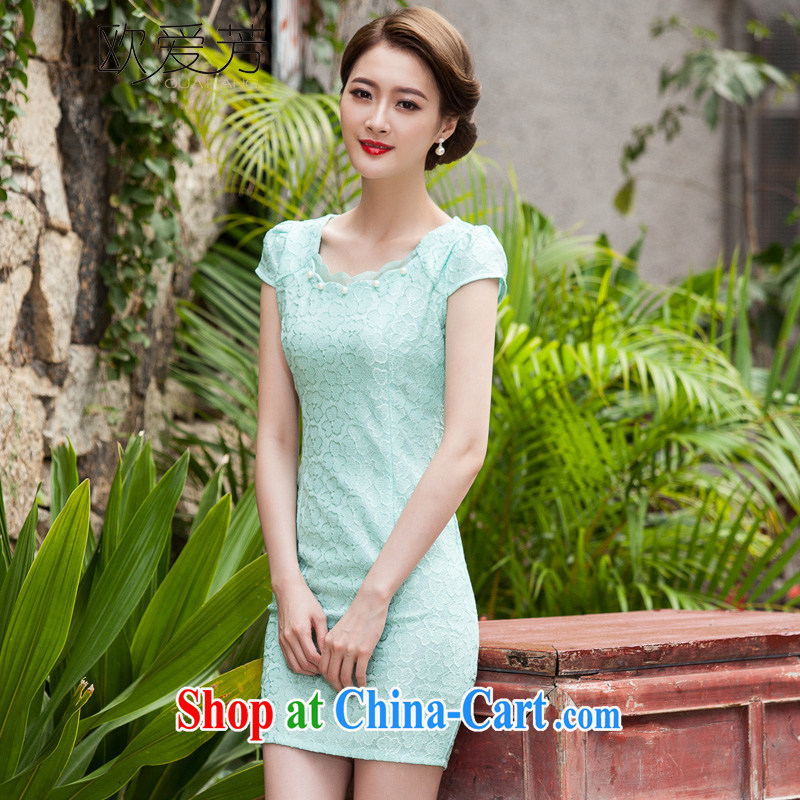 The Oi-fong 2015 spring and summer new, lace dresses and stylish beauty dress Openwork hook take Lake blue XL