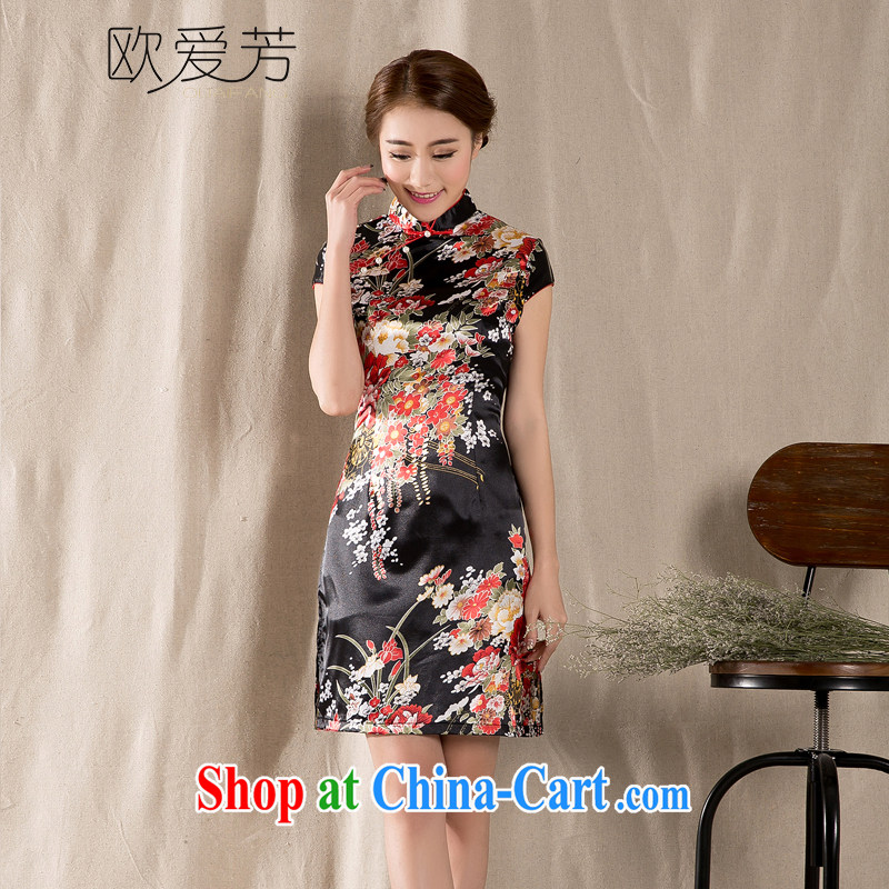 The Oi-fong 2015 new spring and summer short-sleeved Tang with improved cheongsam retro China wind girls dresses wine red XL