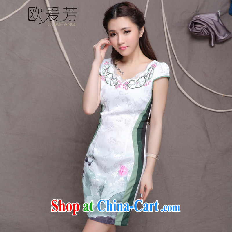 The Oi-fong Chinese wind graphics thin cheongsam dress high-end original ethnic wind and stylish Chinese Antique cheongsam dress summer