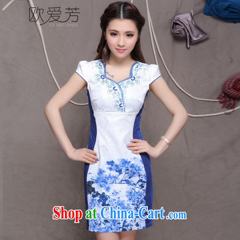 The Oi-fong Chinese wind graphics thin cheongsam dress embroidered high-end ethnic wind and stylish Chinese qipao dress summer blue M