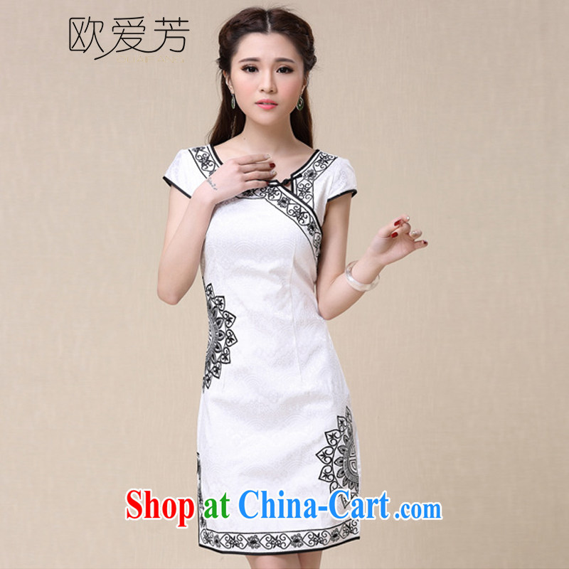 The Oi-fong 2015 spring and summer winds China National wind elegant embroidery, cheongsam dress XXL