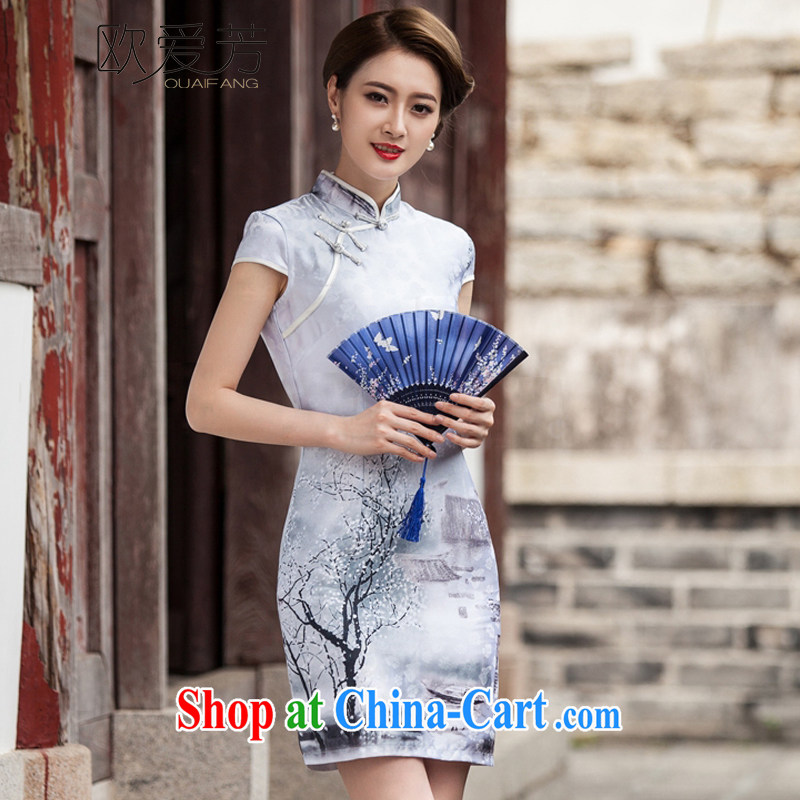 European love Fang Painting cheongsam dress retro fashion China wind daily outfit XL