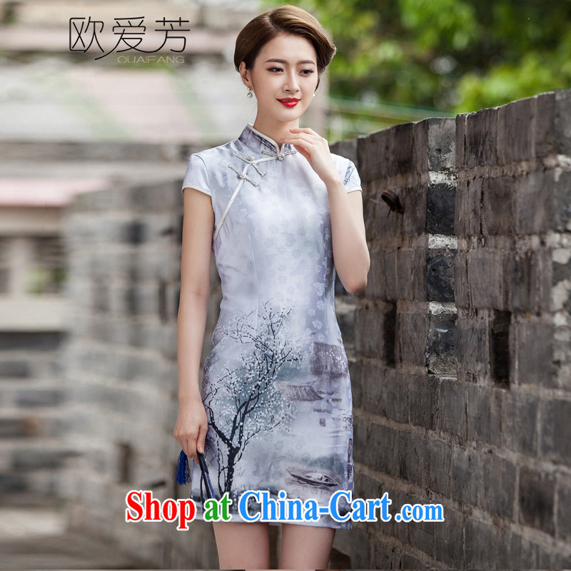 The Oi-fong Chinese painting cheongsam dress retro fashion China wind daily outfit XL, the love-fang, and shopping on the Internet