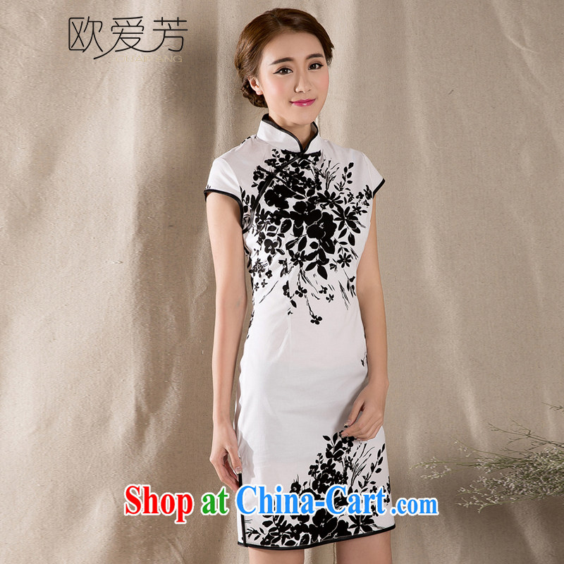 The Oi-fong Chinese wind graphics thin cheongsam dress stamp improved retro dresses skirts XL