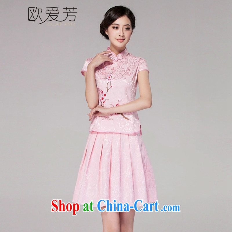 The Oi-fong 2015 spring and summer new female Chinese qipao day dresses high-end retro style two-piece with pink XXL