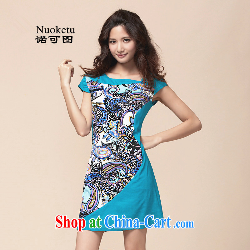 The May 2015 summer new, original Ethnic Wind the Code, qipao dresses small fresh short skirt light blue XXL