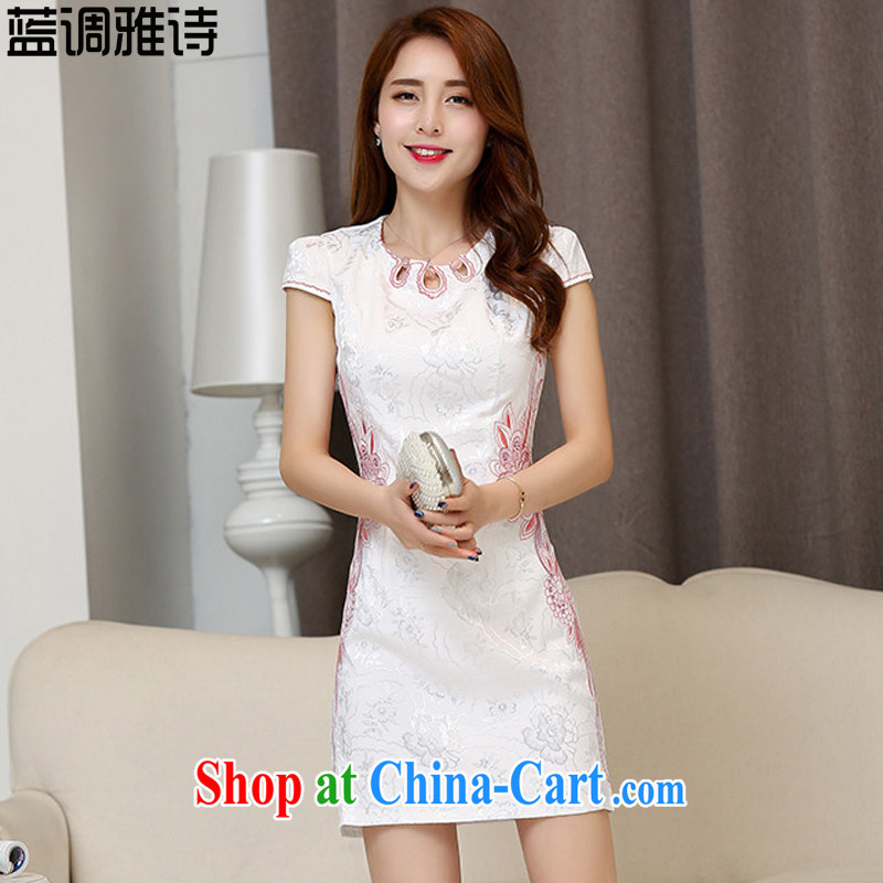Blues, 2015 New National wind Chinese Chinese elegant antique style beauty video thin package and cheongsam dress girls pink XXL