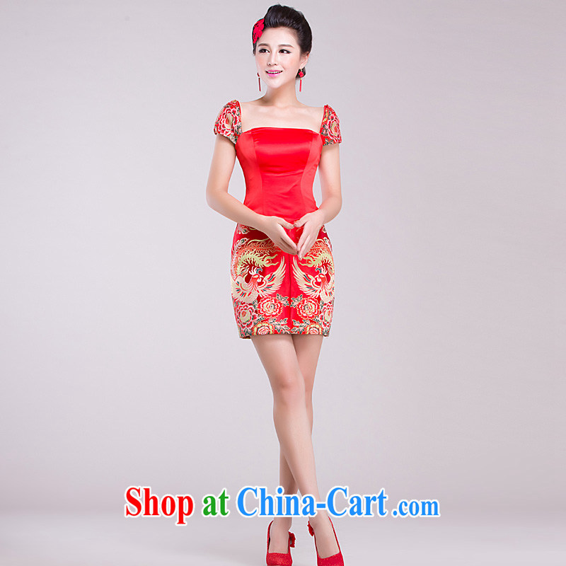 Ho full Chamber 2015 red packet shoulder bridesmaid bride serving the betrothal marriage toast clothing dress short dress red XL