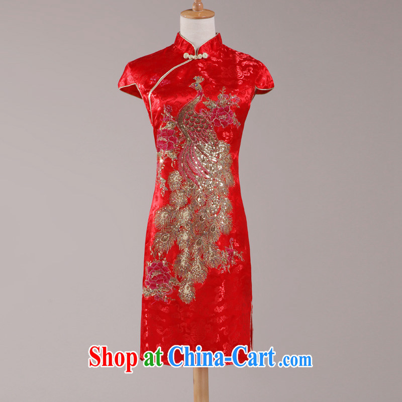 Ho full Chamber bridal wedding dresses wedding dresses red short dress Chinese improved bows clothes retro style dresses red made other code 20