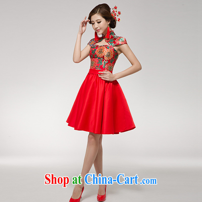 Ho full Chamber 2015 new marriage toast serving red dress cheongsam Chinese improved stylish Princess bride short skirt red made other code 20