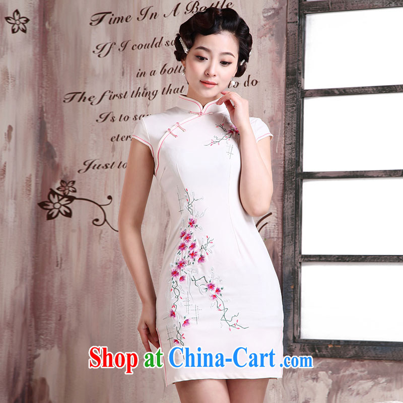 Jubilee 1000 bride 2015 spring loaded retro improved daily fashion sexy female beauty short-sleeved short cheongsam dress X 2033 white flower XXL