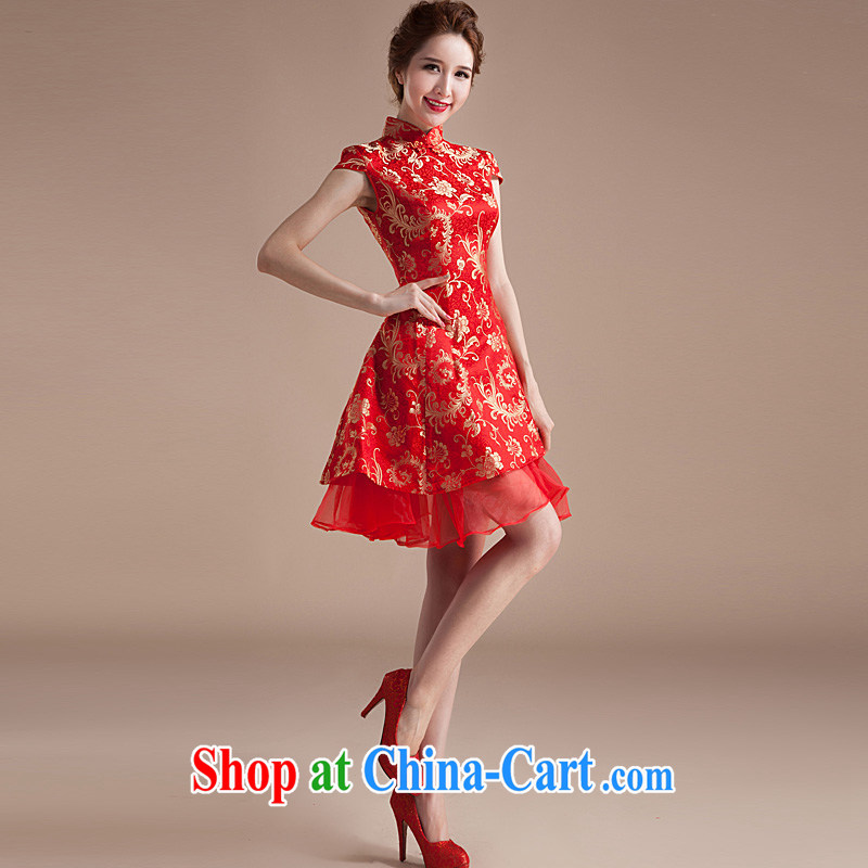 2015 new summer dresses wedding dress short dress red retro embroidery improved wedding bridal toast serving red XL